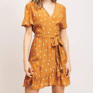 Dynamite Polka Dot Ruffle Wrap Dress